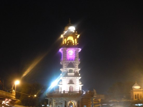 Pal Haveli : Clocktower from rooftop restaurant