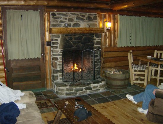 Rustic Log Cabins: fire place
