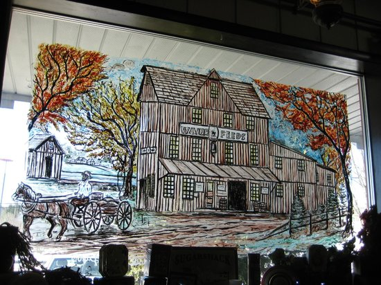A hand painted window scene at the Dutch Pantry, Clearfield, PA