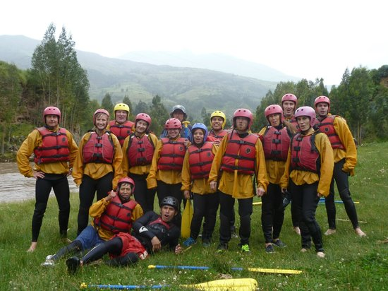River Rafting the Urubamba River : The group split into several rafts