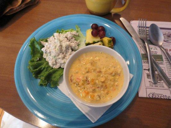 Stedman Corners: my seafood chowder and chicken salad w/o bread