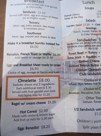Stedman Corners : breakfast menu