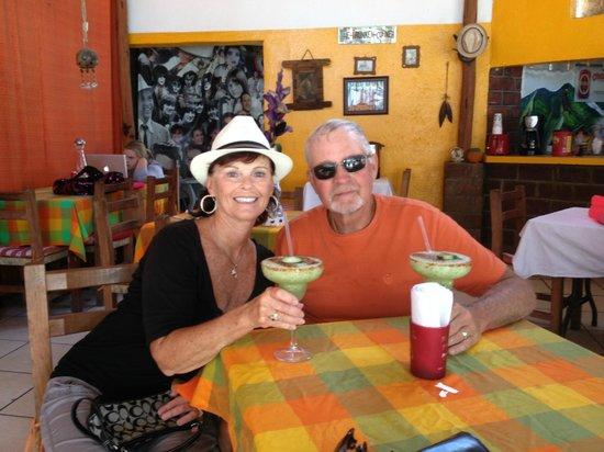 La Casa del Cuervo: enjoying cucumber margarita's before lunch