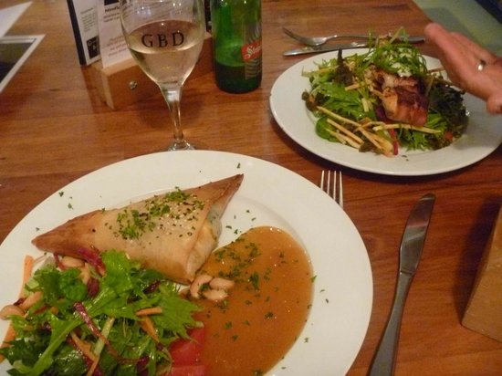 Grahamstown Bar & Diner: Pumpkin Filled filo (front) and Scollops in Bacon