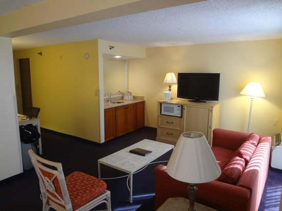Best Western Orlando Gateway Hotel: Wet bar area, microwave and fridge under TV.
