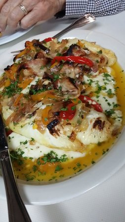 Cafe La Buca : Cabbage stuffed w brie n ricotta w cabbage n potato puree n topes w roasted peppers and bacon...
