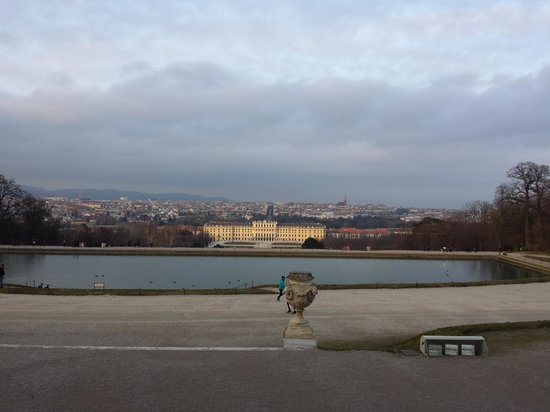Schloss Schönbrunn: palace and city view from the distance from far end of the garden grounds