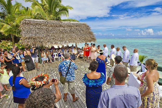 Wedding Ceremony on the large deck at Vai Villas