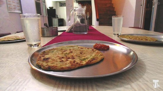 Parantha with Potato-Green Pea Stuffing at International Travellers' Hostel, Varanasi