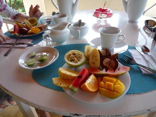 Black Beauty Guesthouse: fresh local fruit platter at every breakfast