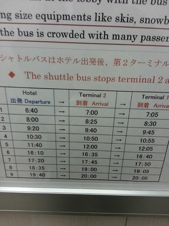 Richmond Hotel Narita: Shuttle bus schedule
