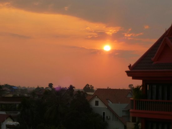 The Unique Angkor Villa: Sunset from the roof terrace