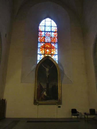 Stained glass window in Niguliste Museum