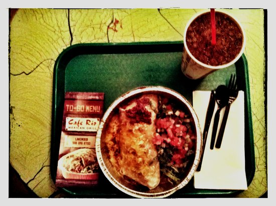 Cafe Rio: Burrito, Enchilada Style & Lg Soda. Very tasty and lots of beans, meat, and cheese.