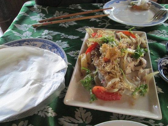 The End of The World: Steamed fish with veggies and rice wraps