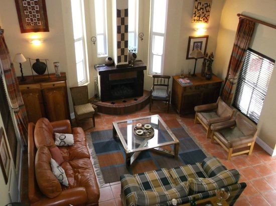 Plumwood Inn: looking down onto the sitting room in original building