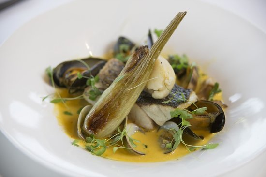 The Swan at Streatley Restaurant & Bar: Wild Sea Bass, Clam & Saffron Broth