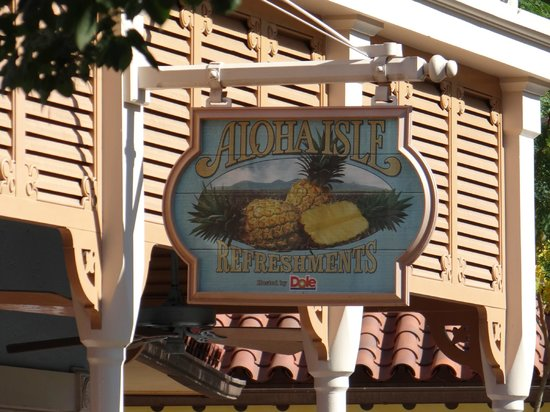 Aloha Isle at Magic Kingdom: Look out for this sign to get your dole whips