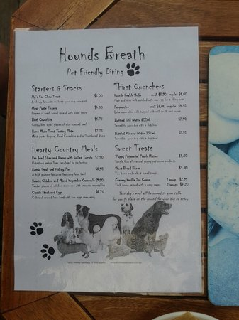 "Riverwood Downs Mountain Valley Resort: Doggie Menu - ""Hounds Breath Cafe"""