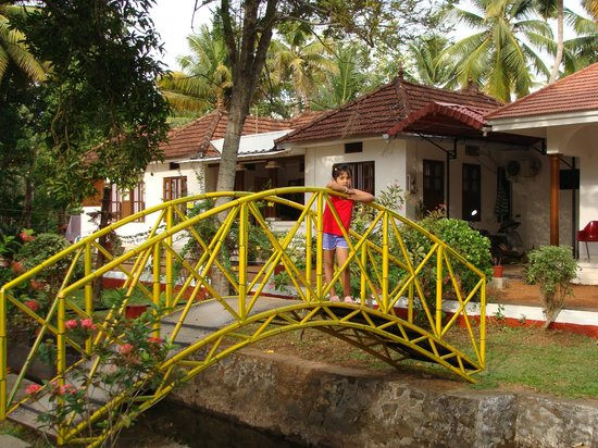 Coconut Creek Farm and Homestay Kumarakom: A nature's bliss.....Bridge in the garden....My daughter's favourite place