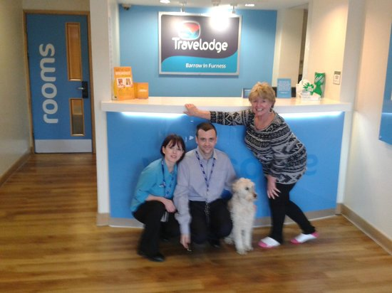 Barrow-in-Furness, UK: Richard Whittaker (Manager) Shoana (Receptionist) myself and Patch