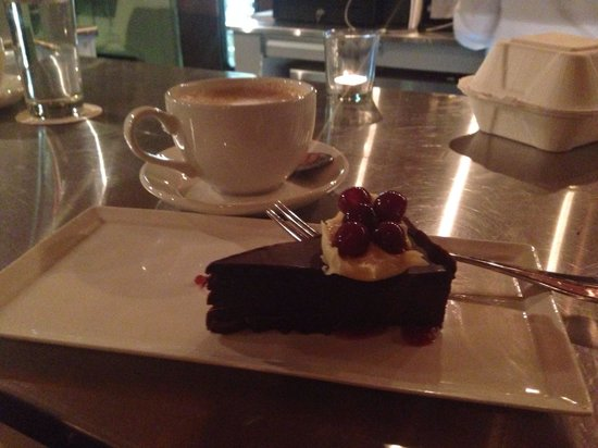 Otto's: Pure Chocolate cake, a chocolate lovers dream! The cappuccino paired so nicely with it!