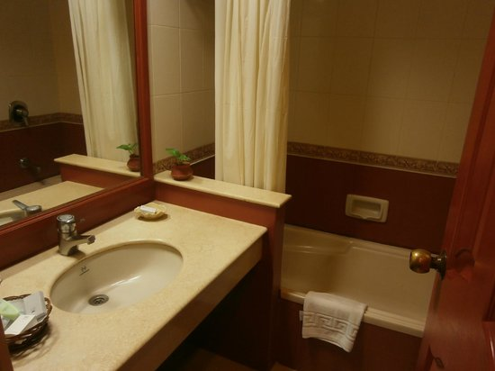 Abad Airport Hotel : Bath with shower over but no hot water Room 127