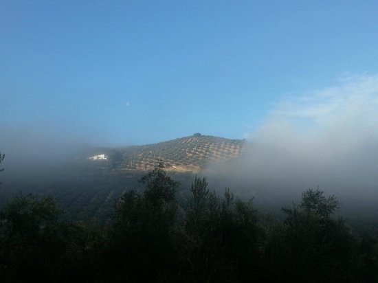 Casa Pino Solo: Early morning view from the rear of the complex as early morning mists rise giving way to blue s