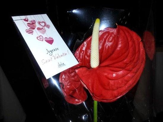 Iloha Seaview Hotel: Fleur offerte pour la St Valentin par le restaurant Kotémer