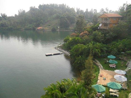Cormoran Lodge: View from the room on lake Kivu