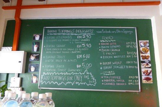 Bikini Toppings: The menu!