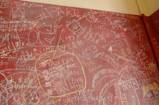 Bikini Toppings: The chalkboard at the wall of the shop