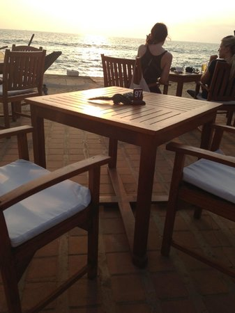 The Poolside Bar and Terrace: A squirrel enjoying the sunset on the beach front at the Galle Face Hotel