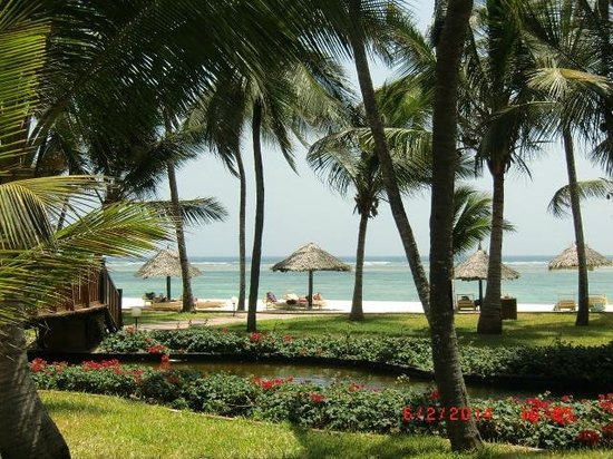 Diani Reef Beach Resort & Spa : View through the palms to the beach