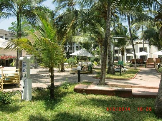 Diani Reef Beach Resort & Spa : View looking across the grounds to the hotel rooms