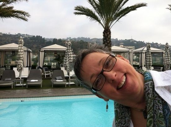 The London West Hollywood: Me being silly on roof top patio (before any wine consumption)