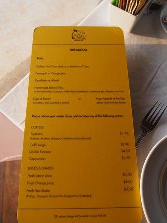 Navutu Dreams Resort & Wellness Retreat : Breakfast 朝食メニュー