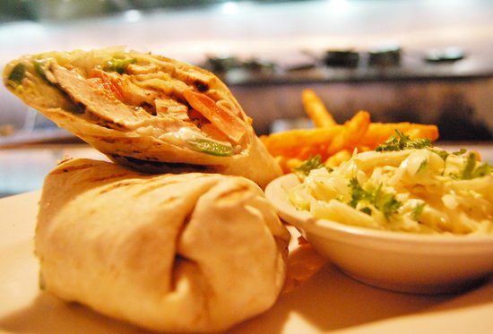 Villaggio Mediterranean Grill & Brick Oven Pizza: Mediterranean Chicken Wrap: grilled chicken, homemade tzatziki sauce, red onions, lettuce,feta,