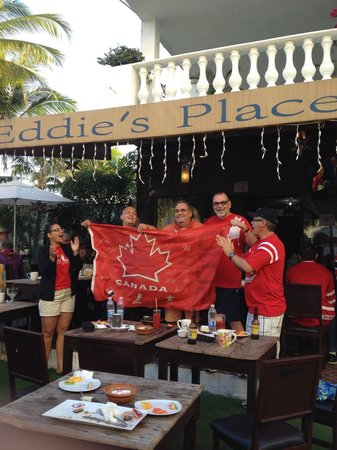 Eddie's Place Nopal Beach: Thanks to Eddie for opening at 6AM do we crazy Canadians could watch Canada win gold!