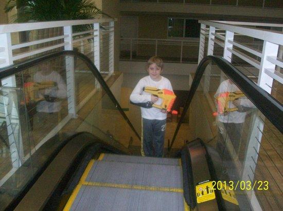 Emerald Beach Resort: escalator to skyway (bridge between hotel & garage)