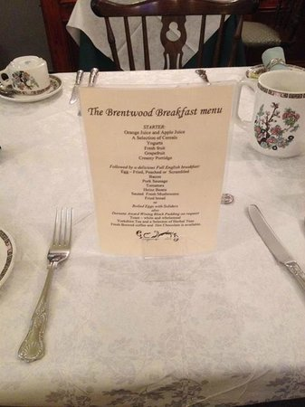 Brentwood Guest House: This is the breakfast menu we had; YUM YUM.