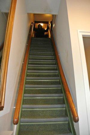 Hotel Adolesce: escalera de acceso a la habitaciones muy empinada