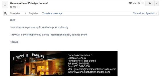 Hotel Principe & Suites: Email from General Manager
