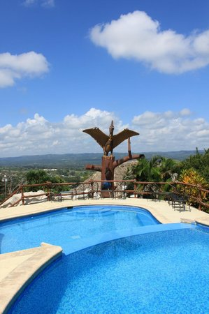 Cahal Pech Village Resort: View from the bar to the upper level pools.