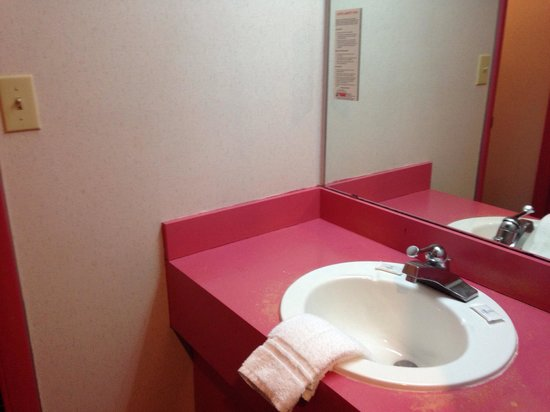 Red Carpet Inn Fantasuites: Bathroom vanity pink Cadillac.