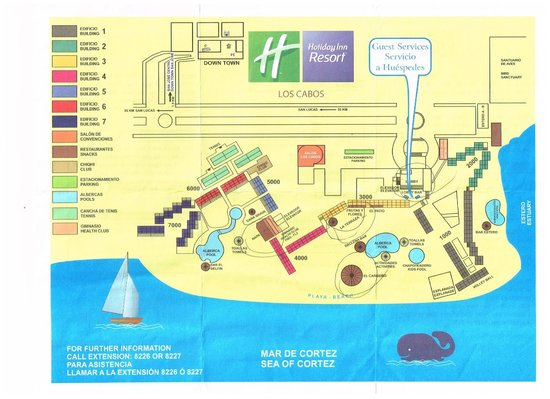 Holiday Inn Resort Los Cabos All-Inclusive: Map of Holiday Inn Resort Los Cabos grounds provided to us by the hotel on arrival