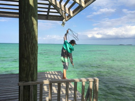 Small Hope Bay Lodge : All alone, fishing off the pier