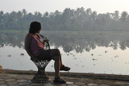 Club Mahindra Kumarakom: Morning tea while awaiting sunrise @resort