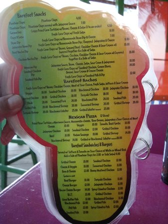 Barefoot Bar: One page of the menu-all prices Belize dollars