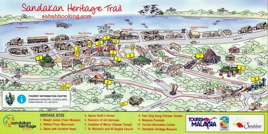Map of the Heritage Trail Picture of Sandakan Heritage Trail